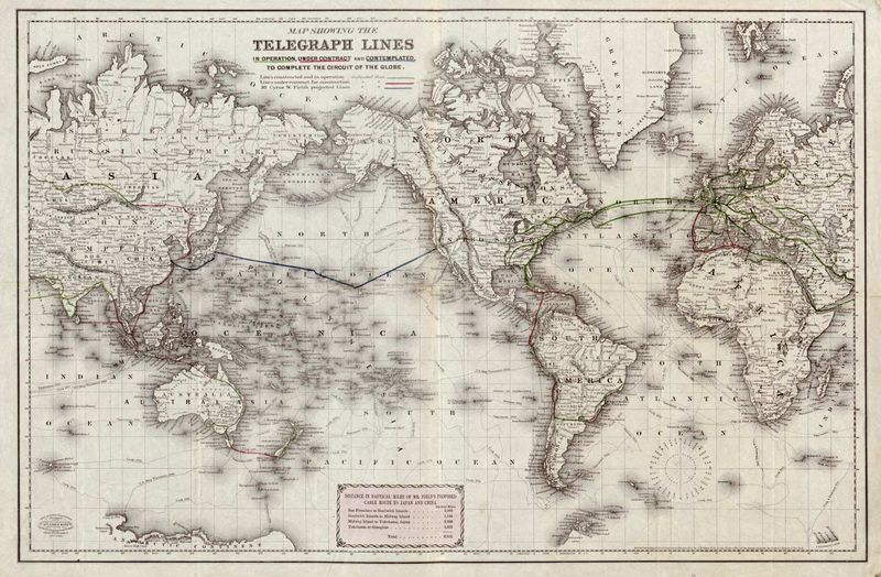 Colton-1855-World-Telegraph-Lines